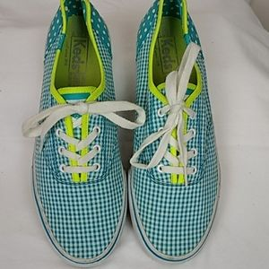 Keds Gingham Dots Turquoise Sneakers 8